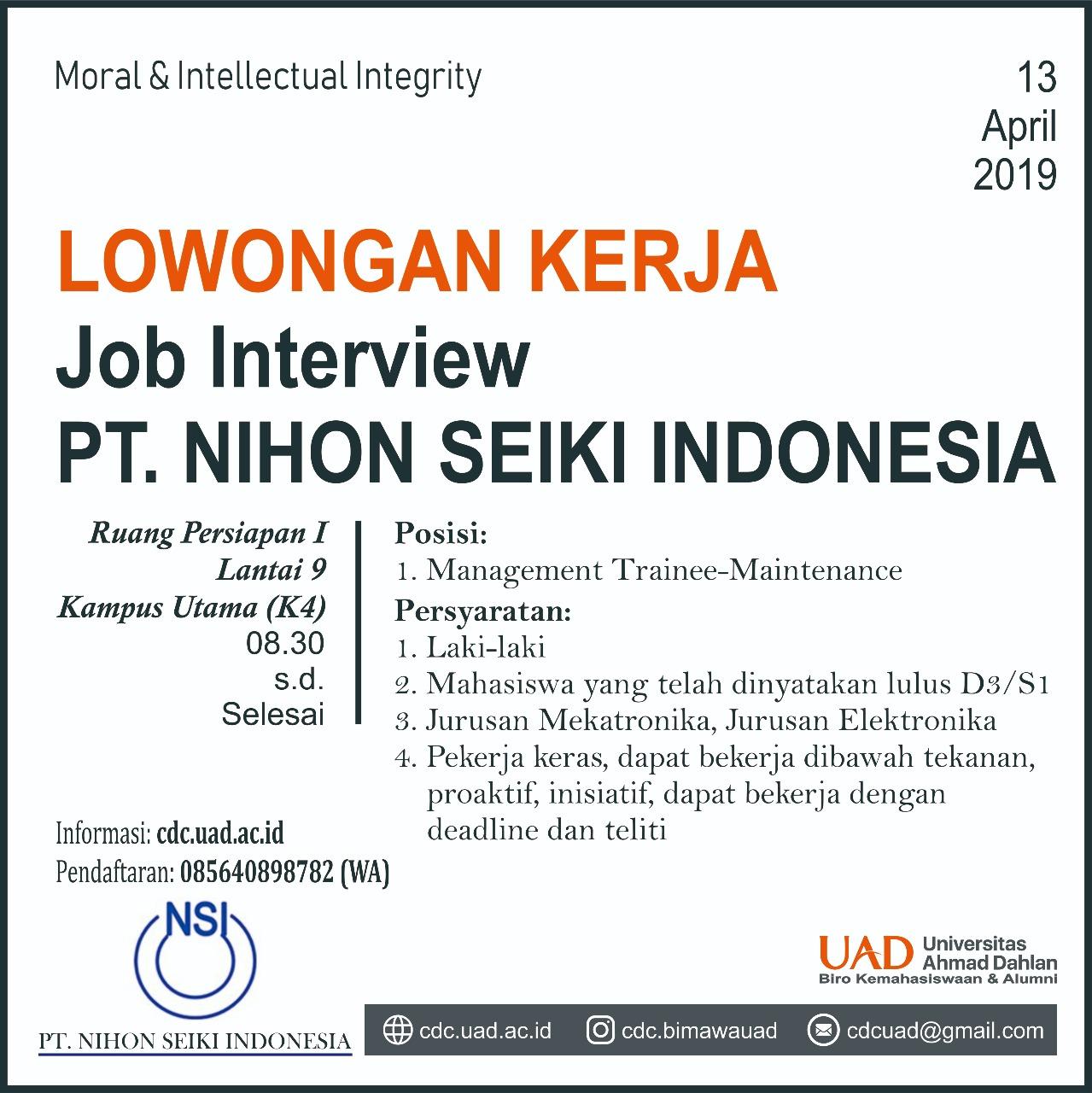 Job Interview Lowongan Kerja Pt Nihon Seiki Indonesia Teknik